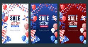 Día de la Independencia de los E Bandera del vector de la venta Fondo del día de fiesta con la bandera, balones de aire, fuegos a Imagen de archivo libre de regalías