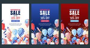 Día de la Independencia de los E Bandera del vector de la venta Fondo del día de fiesta con la bandera, balones de aire, fuegos a Fotografía de archivo libre de regalías