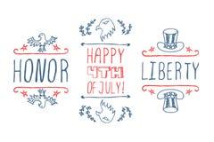 Día de la Independencia Mano-bosquejado tipográfico stock de ilustración