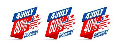 Día de la Independencia venta y descuento del 4 de julio Foto de archivo