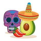 Día de la máscara muerta con la comida mexicana ilustración del vector