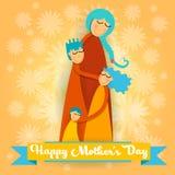 Día de la madre feliz, niños del amor tres de la familia, muchacho de la mamá y tarjeta de felicitación del abrazo de la muchacha stock de ilustración