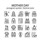 DÍA DE LA MADRE: Iconos del esquema, pictograma y colección del símbolo imagenes de archivo