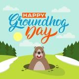 Día de la marmota feliz ilustración del vector