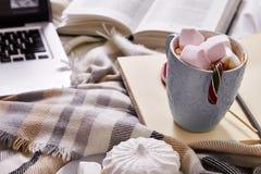 Día de la Navidad del humor del invierno en casa con la taza de cacao o de coffe caliente Imágenes de archivo libres de regalías