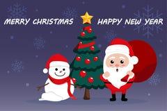 Día de la Navidad lindo de la historieta del carácter, festival de la Feliz Año Nuevo de la Feliz Navidad, Papá Noel con la caja  Fotos de archivo libres de regalías