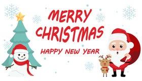Día de la Navidad lindo de la historieta del carácter, festival de la Feliz Año Nuevo de la Feliz Navidad, Papá Noel con la caja  Fotografía de archivo libre de regalías