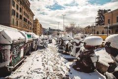 Día de la nieve de la estación de tren cerca del Vaticano Foto de archivo libre de regalías