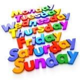 Día de la semana en imanes de la carta Imagen de archivo