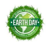 Día de la Tierra de la hierba escrito dentro del sello Fotos de archivo