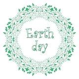 Día de la Tierra - tarjeta de felicitación, marco ondulado del fondo blanco de ramitas Fotos de archivo libres de regalías