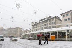 Día de la tormenta de la nieve Fotos de archivo libres de regalías