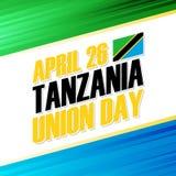 Día de la unión de Tanzania, el 26 de abril tarjeta de felicitación de la festividad nacional stock de ilustración