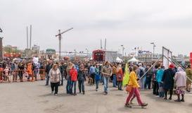 Día de la victoria en el cuadrado central en Vladivostok Imagenes de archivo