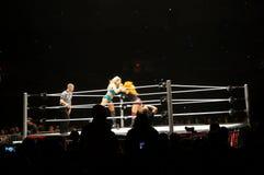 Día de los luchadores de WWE el nuevo hace la entrada en anillo Fotos de archivo libres de regalías