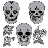 Día de los muertos Conjunto de cráneos Ilustración del vector Imagen de archivo