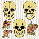Día de los muertos Conjunto de cráneos Ilustración del vector Imagen de archivo libre de regalías