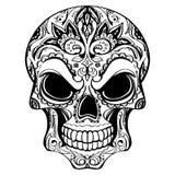 Día de los muertos, cráneo con el ornamento floral ilustración del vector