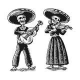 Día de los muertos, Dia de los Muertos El esqueleto en los trajes nacionales mexicanos baila, canta y toca la guitarra stock de ilustración