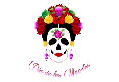 Día de los muertos, de retrato del mexicano Catrina con los cráneos y las flores rojas, de inspiración Santa Muerte en México y d stock de ilustración