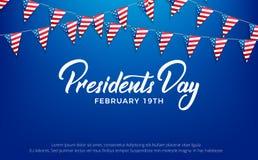 Día de los presidentes Bandera para presidentes Day Holiday de los E.E.U.U. ilustración del vector