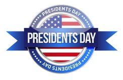 Día de los presidentes. nosotros sello y bandera libre illustration