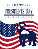 Día de los presidentes Tarjeta de felicitación con símbolos ilustraciones stock de ilustración