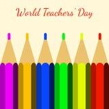 Día de los profesores del mundo Coloree los lápices y el nombre del evento libre illustration