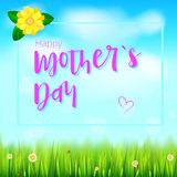Día de madre feliz Bandera realista del saludo para sus tarjetas de la enhorabuena en el contexto con las flores, hierba verde de Foto de archivo libre de regalías
