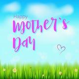 Día de madre feliz Bandera realista del saludo para sus tarjetas de la enhorabuena en el contexto con las flores, hierba verde de Imagen de archivo