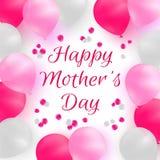 Día de madre feliz Tarjeta de felicitación o plantilla del fondo Globos blancos y rosados en el fondo blanco con los pétalos colo Imágenes de archivo libres de regalías