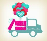 Día de madres con un regalo en el coche libre illustration