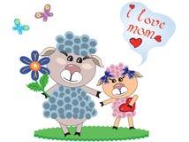 Día de madres, dos ovejas ilustración del vector
