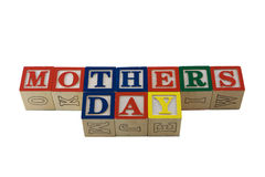 Día de madres en bloques del alpabet junto imagen de archivo