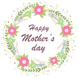Día de madres feliz Ejemplo brillante del concepto de la primavera con las flores Guirnalda floral libre illustration
