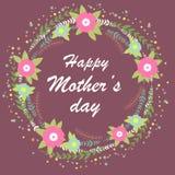 Día de madres feliz Ejemplo brillante del concepto de la primavera con las flores Guirnalda floral ilustración del vector