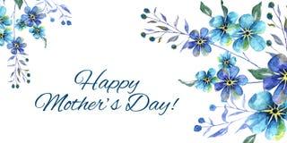 Día de madres feliz, ejemplo horizontal de la acuarela con las flores de las nomeolvides y texto en un fondo blanco libre illustration