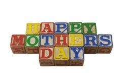 Día de madres feliz en bloques del alpabet de la vendimia Imagen de archivo libre de regalías
