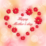 Día de madres feliz escrito en un corazón Fotografía de archivo libre de regalías