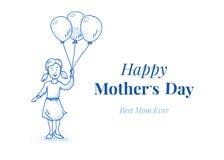 Día de madres feliz Hija con los globos Pequeña muchacha Ilustración drenada mano Blue Line diseña Carde el modelo Foto de archivo