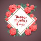 Día de madres feliz Rose Flowers floreciente hermosa en Grey Background Tarjeta de felicitación cuadrada Fotos de archivo libres de regalías