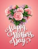 Día de madres feliz Tarjeta con las flores hermosas libre illustration