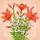 Día de madres feliz Tarjeta de felicitación con los lirios rojos Fotos de archivo