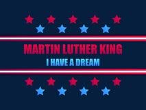 Día de Martin Luther King Tengo un sueño Tarjeta de felicitación con las estrellas rojas y el color azul Día de Mlk Vector ilustración del vector