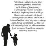 Día de padres feliz, bandera o cartel, silueta de un padre que lleva a cabo su mano del niño Ilustración del vector