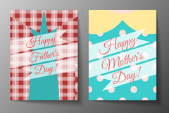 ¡Día de padres feliz! ¡Día de madres feliz! Sistema del diseño de las cubiertas de las tarjetas Imagen de archivo