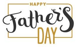 Día de padres feliz Texto de las letras para la tarjeta de felicitación de la plantilla stock de ilustración