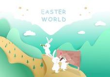 Día de Pascua, cartel de la historieta del conejo de la aventura, fondo del estilo del corte del papel, vector de la tarjeta de f ilustración del vector