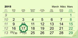 Día de Patricks del santo Calendario 17 de marzo Fotos de archivo libres de regalías