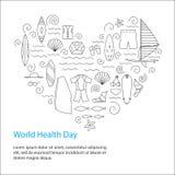 Día de salud de mundo Concepto de diseño activo del deporte ilustración del vector